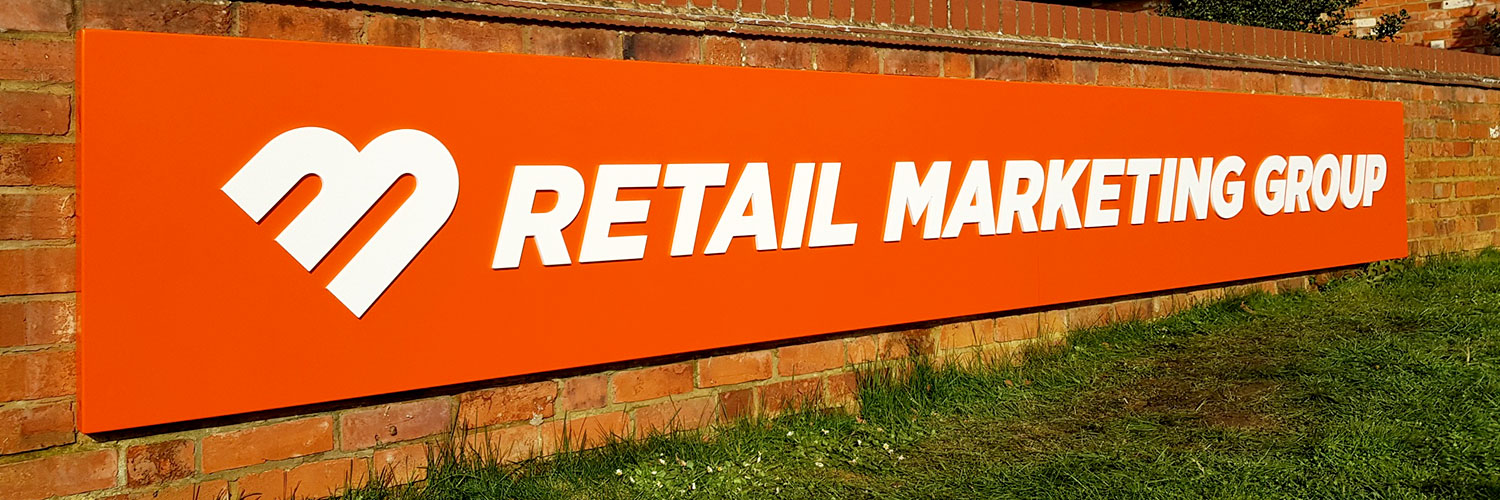 Retail Marketing Group company sign by Bluedot Display Ltd