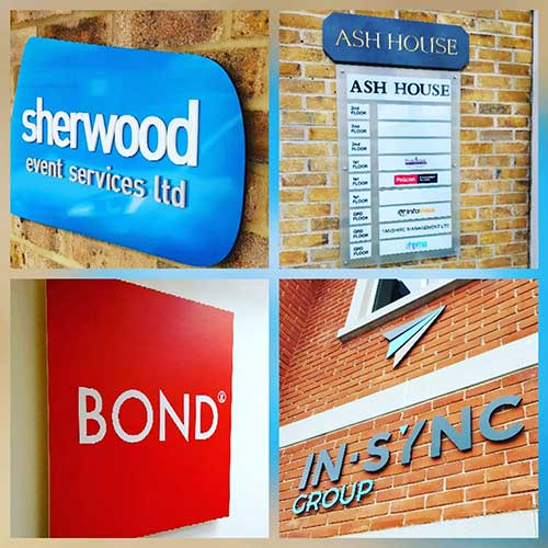 A selection of acrylic office and retail business signs by Bluedot Display