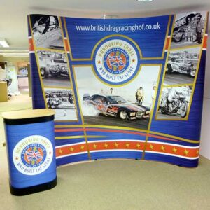 Pop up display stand and lectern created for the British Drag Racing Association