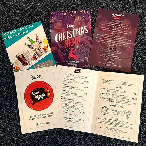 Examples of flyers printed for businesses by Bluedot Display