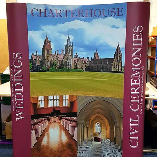 Charter House Scholl pop up display stand by Bluedot Display