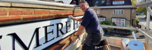 Haslemere Hall sign install by Bluedot Display Ltd