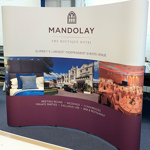 3x3 pop up display stand created for the Mandolay Hotel in Guildford