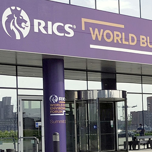 RICS exhibition fascia board and pillar wraps