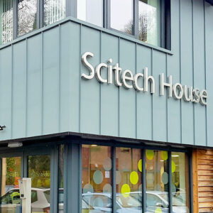 Scitech sign with 40mm stainless steel stand-off lettering