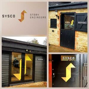 Vinyl office and window signs created for Sysco