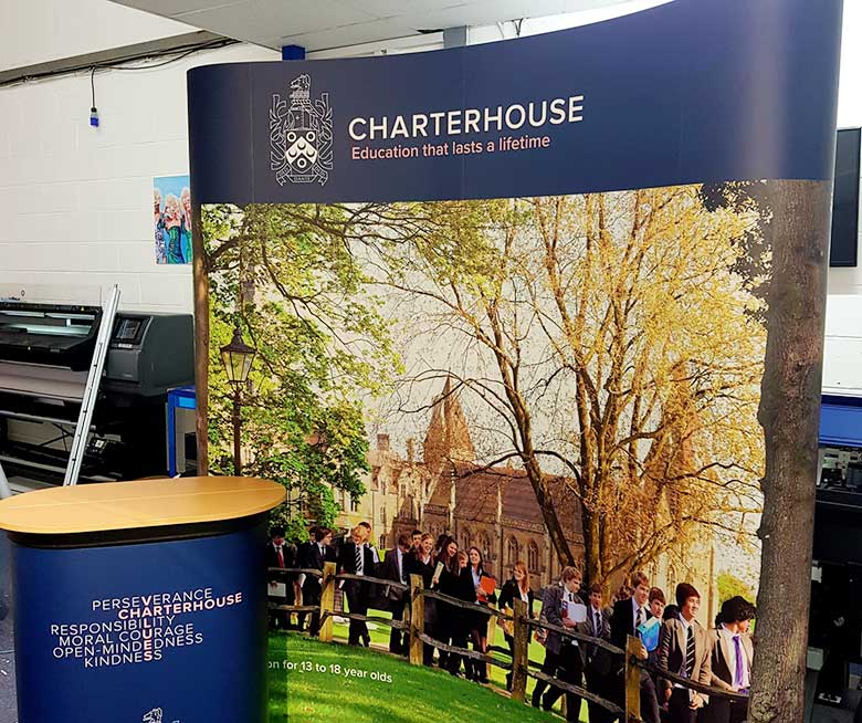 Pop-up stand and printed graphics for Charterhouse School in Godalming by Bluedot Display