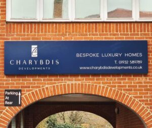 Illuminated building sign for Charybdis Developments in Godalming by Bluedot Display