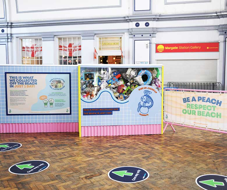 Waste campaign banners and graphics at Margate Station for Thanet District Council