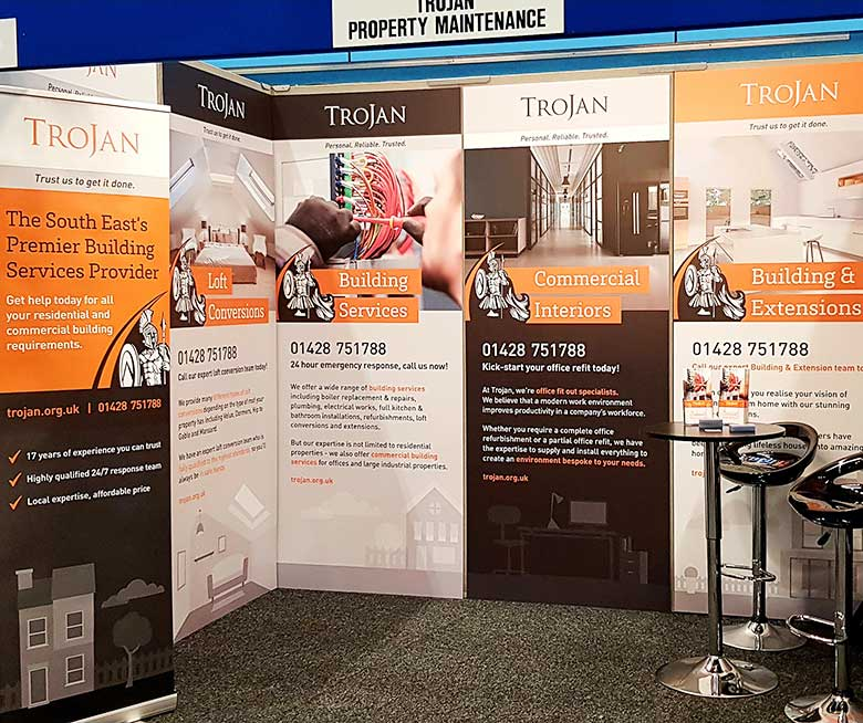 Foamex exhibition signs for Trojan Property Maintenance by Bluedot Display