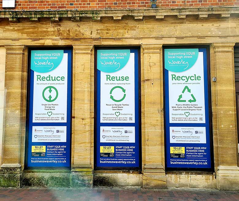 Window graphics in Godalming High Street for Waverly Borough Council by Bluedot Display
